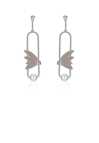 Glamorousky gold 925 Sterling Silver Elegant Delicate Fashion Bird Little Swallow Pearl Earrings with Champagne Austrian Element Crystal 8C2BBACE7B1202GS_1