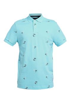 bcf64a7f CHAPS blue Short Sleeve Printed Polo Shirt 6B519AA57A6173GS_1