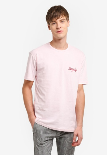 Topman pink Pink Everyday Embroidery T-Shirt TO413AA0RUWQMY_1