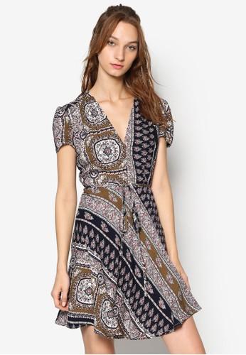 印花V 領繫帶洋裝, esprit tw服飾, 洋裝