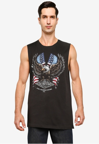 Cotton On black and grey Tbar Muscle Tank 04960AA2153C8CGS_1