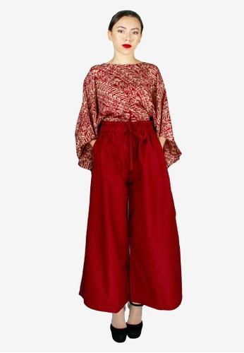 PANGOI red PANGOI Handmade Batik Kaftan with Palazzo Pants Set 342CDAACAD1A10GS_1