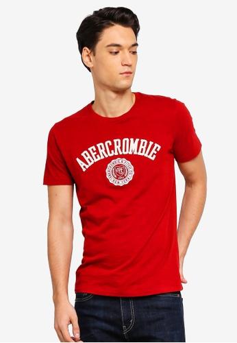 Abercrombie & Fitch 紅色 LOGO印花T恤 7F853AA9B8BC5BGS_1