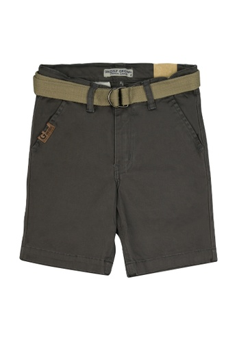 Grizzly grey Boys Toddler Twill Shorts with Belt and Welt Pocket 5CD5FKA79616A4GS_1
