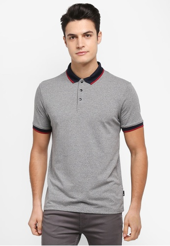 Burton Menswear London grey Charcoal Popper Stretch Polo Shirt 7C409AA5074C15GS_1