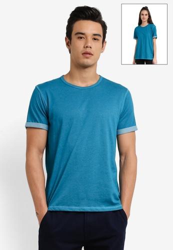 UniqTee blue Slim Fit Textured Roller Tee UN097AA0RFUIMY_1