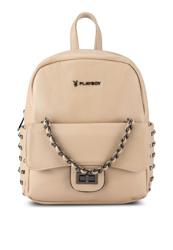 PLAYBOY BUNNY beige Stud And Chain Detail Backpack PL604AC0RX7CMY_1