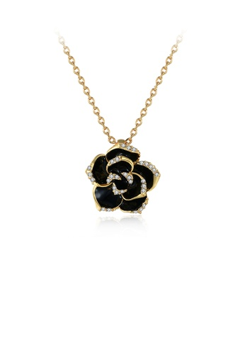 Glamorousky white Elegant Plated Gold Rose Pendant with Austrian Element Crystal and Necklace 644F8ACBE965A5GS_1