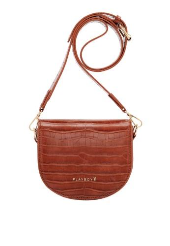 PLAYBOY BUNNY brown Women's Sling Bag / Shoulder Bag / Crossbody Bag 97161ACC10E1C4GS_1