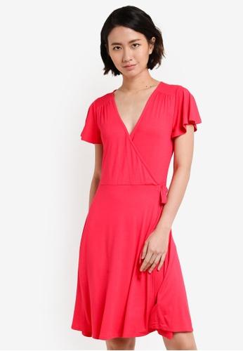 Dorothy Perkins pink Flutter Sleeve Wrap Dress DO816AA07UWEMY_1