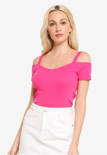 Brave Soul pink Crop Cold Shoulder Rib Top D69F8AA435AA59GS_1