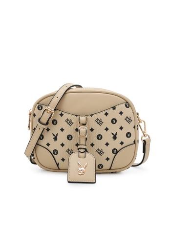 PLAYBOY BUNNY beige Women's Sling Bag / Shoulder Bag / Crossbody Bag 806B1AC5AADEE3GS_1