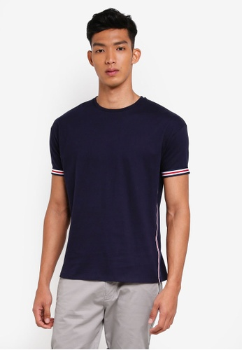 ESPRIT navy Side Tape Short Sleeve T-Shirt 3EB36AA05E7B79GS_1