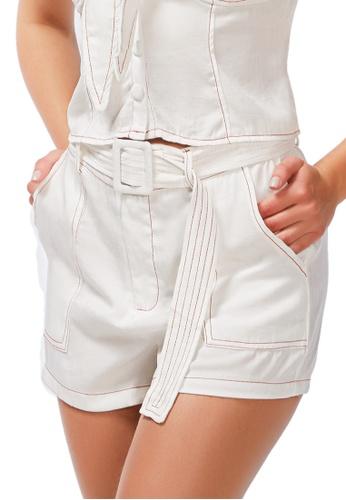 London Rag white Contrast Seam Everyday Shorts BB3F2AA6E630B1GS_1