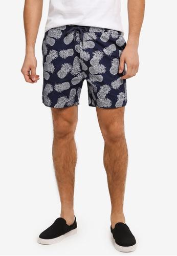 JAXON navy Pineapple Motif Easy Shorts 7A2F2AA5372AECGS_1