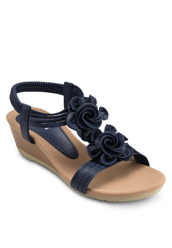 花飾踝帶楔形涼鞋, 女esprit女裝鞋, 楔形涼鞋