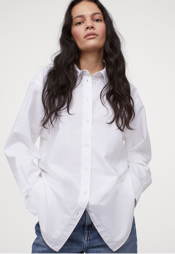 H&M white Oversized Oxford shirt A24A6AA9687115GS_1