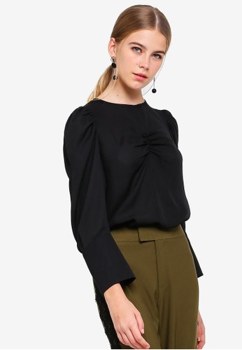 BYSI black Ruched Panel Blouse 97D8CAA904351FGS_1