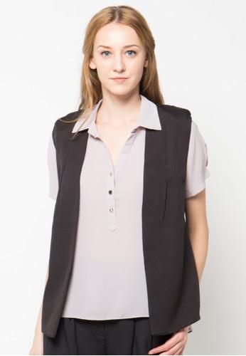 Raspberry black Viola Slleeveless Vest RA572AA45PTYID_1