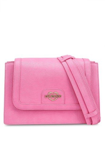Love Moschino pink Chain Snake Texture Flap Crossbody Bag 58A34ACC9A506CGS_1
