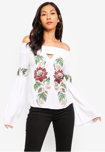 Glamorous white Embroidered Crinkle Top 0A6ADAA91B4F4AGS_1