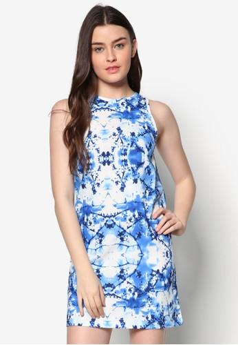 Tammy 印花直筒連身裙, 服飾, 短洋zalora 評價裝