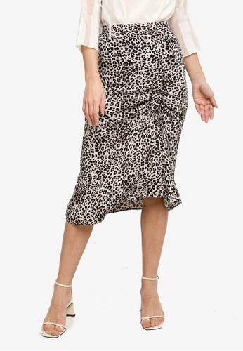 Hopeshow multi Leopard Print Midi Skirt C428EAA51EE884GS_1