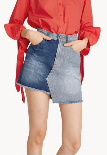 Pomelo blue Mini Asymmetric Two-Toned Denim Skirt 77E57AA31053A8GS_1