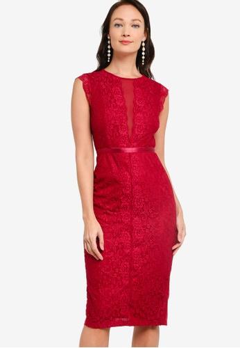 ZALORA OCCASION red Lace Bodycon Pencil Dress 6F897AA85C0EFFGS_1