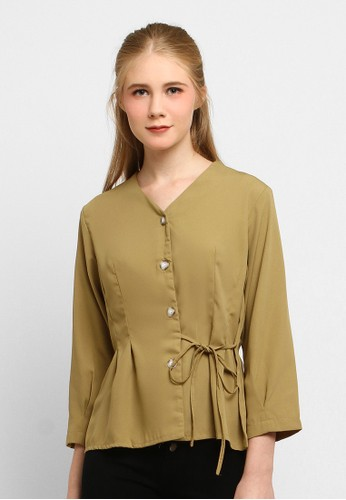 Just Out brown Jetta Side Tie Blouse FC641AA3B22878GS_1