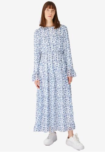 Trendyol navy Navy Chiffon Printed Maxi Dress 24314AA9CD8A1EGS_1