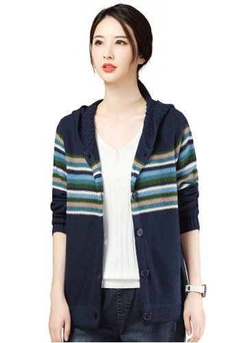 A-IN GIRLS navy Striped Colorblock Hooded Knitted Jacket 93B24AAB431B75GS_1