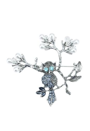 Red's Revenge silver Owl Branch Diamante Brooch 898BDAC310FC9DGS_1