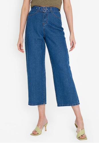 ZALORA BASICS blue Wide Leg Jeans with Belt D704DAA043D160GS_1