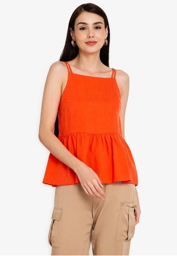 Origin by Zalora orange Ruffle Hem Top made from TENCEL™ 6045EAAB1EFB47GS_1