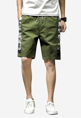 hk-ehunter green Men Stitch Camo Shorts 5F965AA04C30A9GS_1