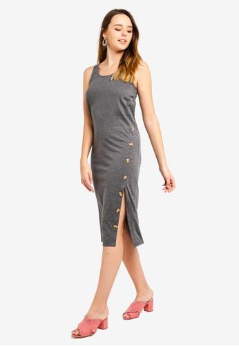 ZALORA grey Button Detail Tank Tee Dress AA710AA1A903DFGS_1