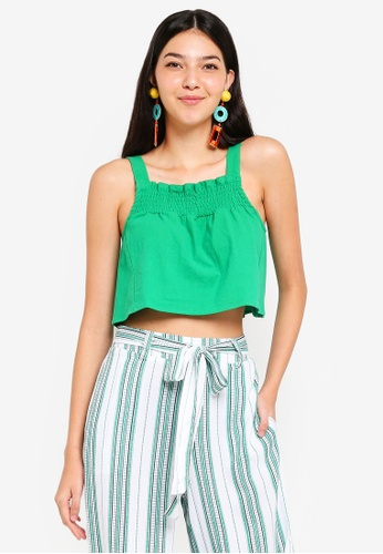 Supre green Shirred Strappy Crop Top DF830AA7598793GS_1