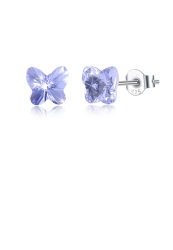 Glamorousky blue 925 Sterling Silve Elegant Noble Romantic Sweet Fantasy Butterfly Earrings with Light Blue Austrian Element Crystal 56901AC8F17660GS_1