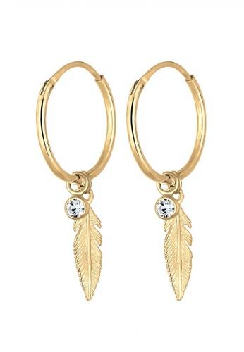Elli Germany gold Perhiasan Wanita Perak Asli-Silver Creol Bulu dengan Swarovski® Crystal Lapis Emas Emas D9629ACDF279B8GS_1