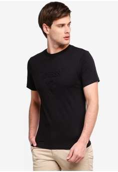 1e63f0bb Guess black Guess Tone On Tone Embossed Triangle Logo Tee 76361AAB7F4D67GS_1