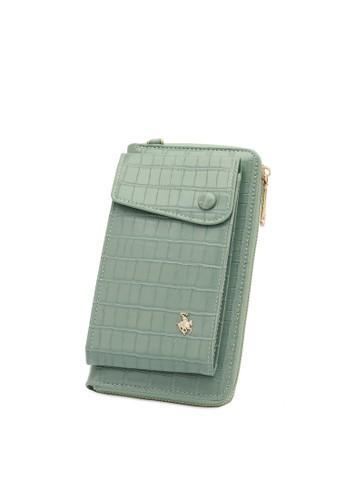 Swiss Polo green Textured Long Sling Purse 342B3ACEBC4353GS_1