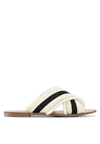 Something Borrowed white Fringed Sandals EBCC9SHAB9BCEBGS_1