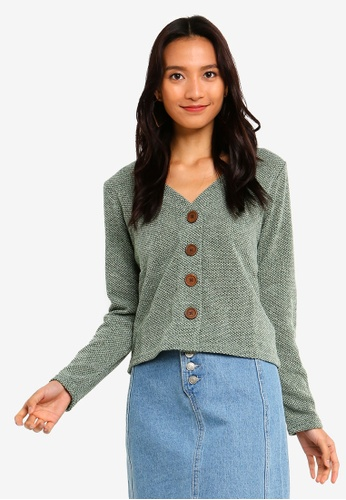 ONLY green Alba Button Cardigan 3C923AAD7DC93DGS_1