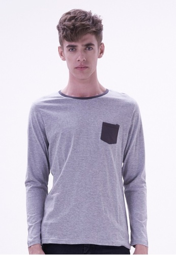 Drum grey Long Sleeve Pocket Tee DR425AA49WRQMY_1