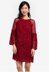 ZALORA red Crochet Lace Mesh Flare Sleeves Dress 9A9F9AA7CA4C3FGS_1