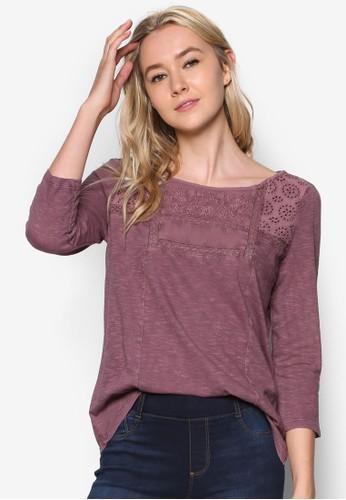 繡花七分袖T-shirt、 服飾、 上衣ESPRIT繡花七分袖上衣最新折價