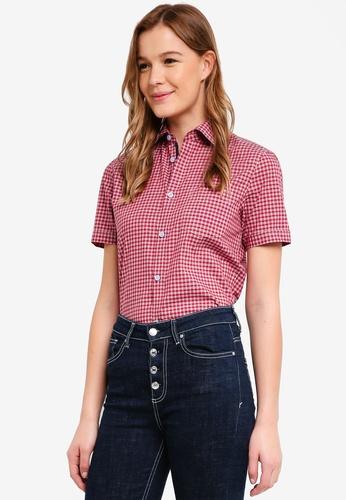 ESPRIT 紅色 短袖格紋襯衫 0C4BDAA2CCDDE8GS_1