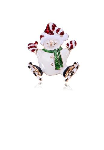 Glamorousky silver Simple and Cute Plated Gold Christmas Snowman Brooch 34294ACA1EDAEFGS_1