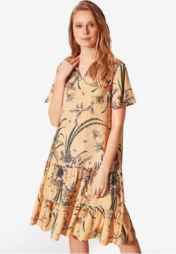 LC Waikiki beige Floral Patterned Viscose Dress 1C67BAAFFF76A7GS_1